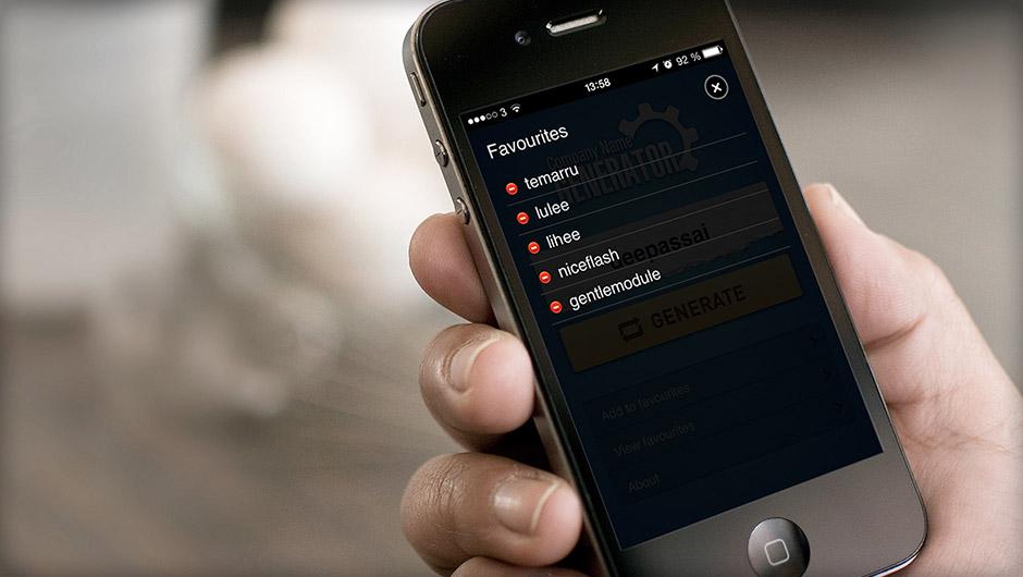 Screenshots of Company Name Generator