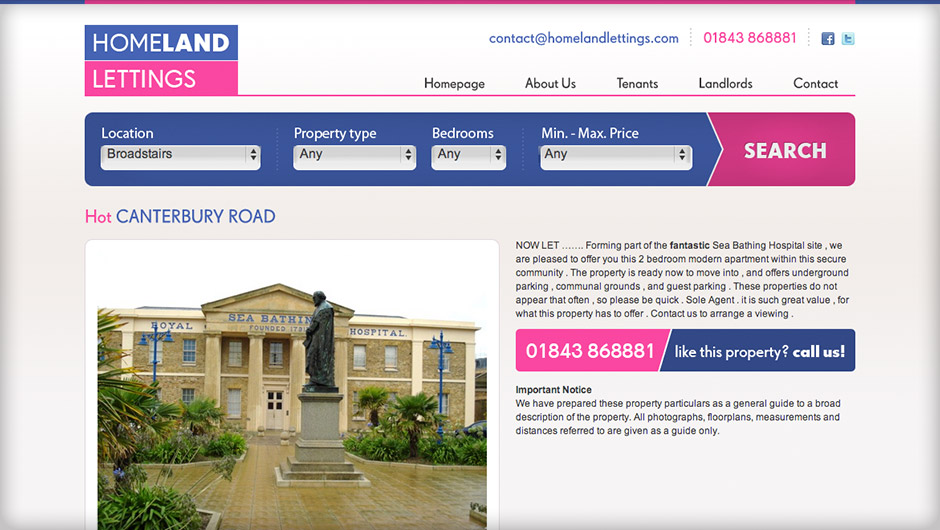 Screenshots of Homeland Lettings