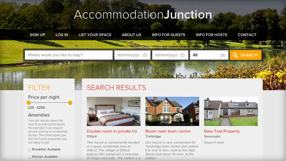 Screenshots of Accommodation Junction