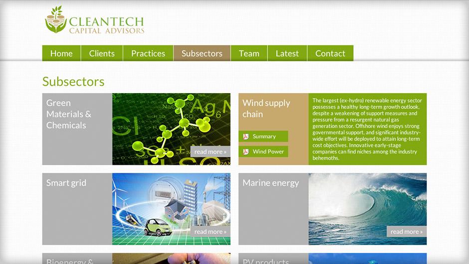 Screenshots of Cleantech Capital Advisors