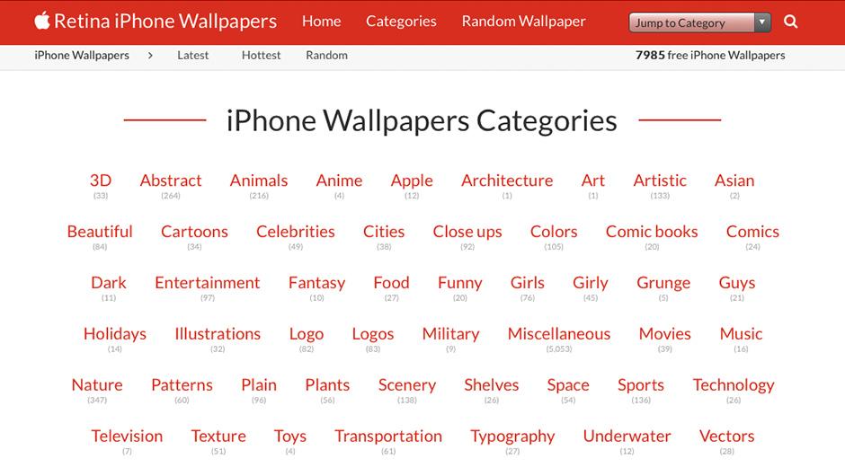 Screenshots of iPhone Wallpapers